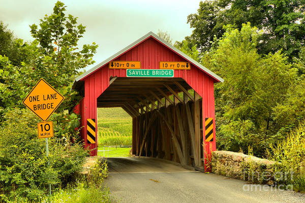 Photograph - Historic Saville Covered Bridge by Adam Jewell