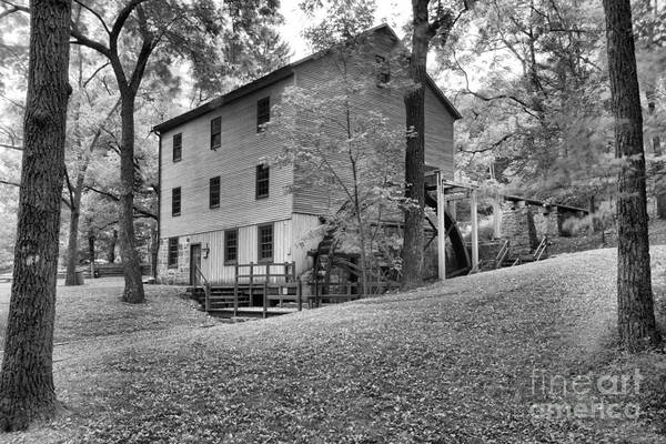 Photograph - Historic Shoaff's Mill Black And White by Adam Jewell