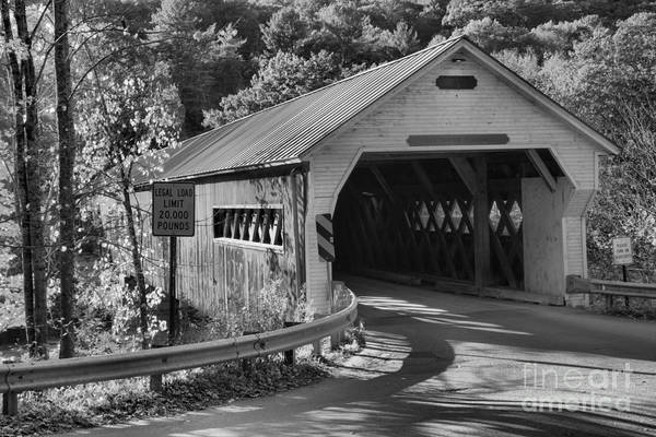 Photograph - Historic Wooden Dummerston Covered Bridge Black And White by Adam Jewell