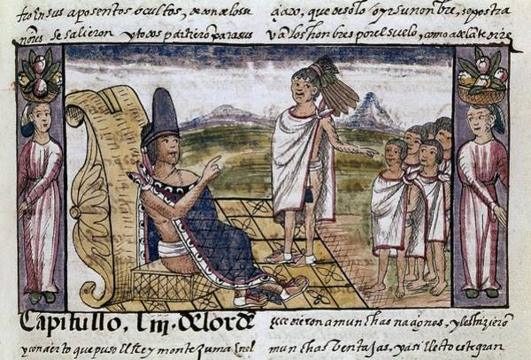 Spanish People Drawing - History Of The Indies, New Spain - Moctezuma. Diego Duran . by Diego Duran -1537-1588-