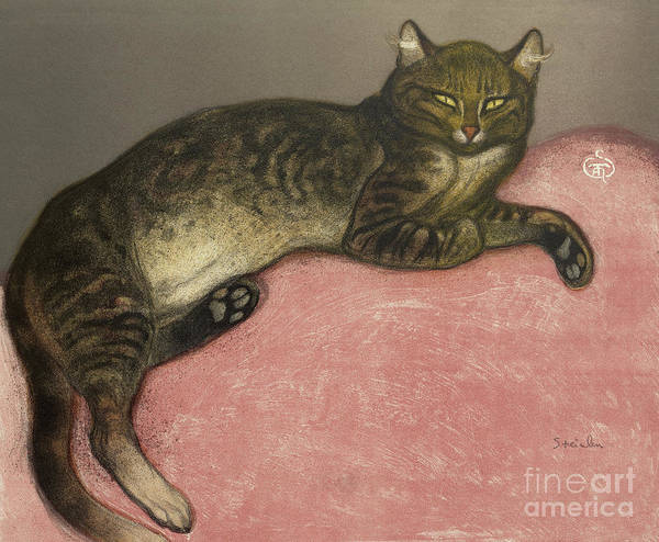 Wall Art - Painting - Hiver, Chat Sur Un Coussin, 1909 by Theophile Alexandre Steinlen