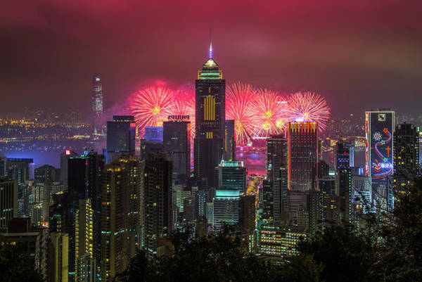 Chinese New Year Photograph - Hkg Chinese New Year Fireworks 2013 by Coolbiere Photograph