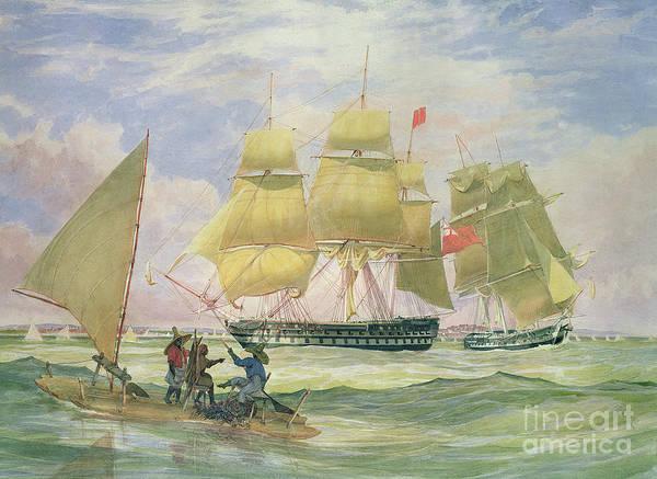 Raft Wall Art - Painting - Hm Ships Ganges And Sapphire Off Pernambuco, 1829 by Emeric Essex Vidal
