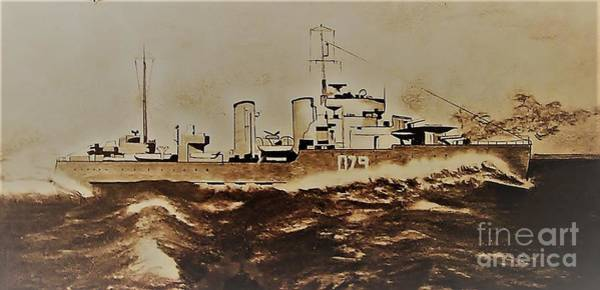 Battle Of The Atlantic Wall Art - Drawing - Hmcs Saguenay by Lise PICHE