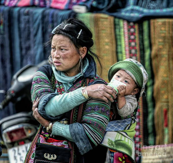 Wall Art - Photograph - H'mong Woman Baby Sapa Vietnam Color  by Chuck Kuhn