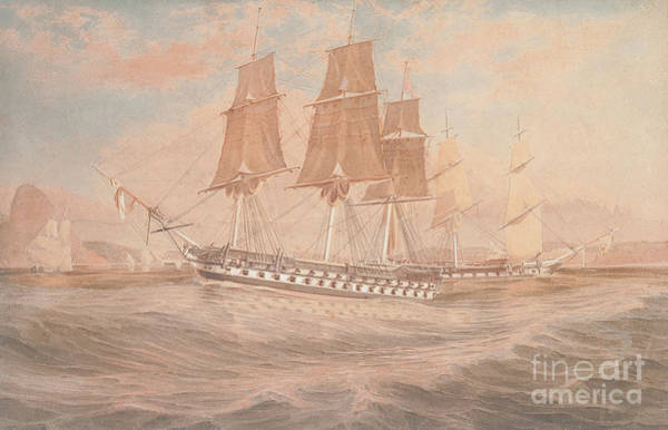 Wall Art - Painting - Hms Ganges, And Thetis Off Rio De Janeiro by Emeric Essex Vidal