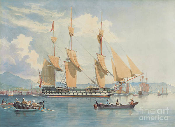 Wall Art - Painting - Hms Ganges Lying At Anchor And Drying Her Sails Off Rio De Janeiro  by Emeric Essex Vidal