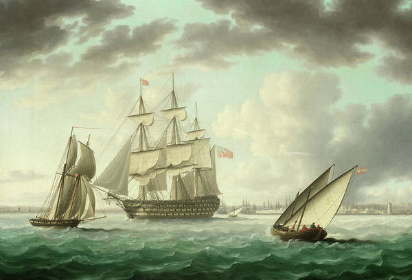 Wall Art - Painting - Hms Queen Charlotte Anchored In Cadiz Bay by Thomas Buttersworth
