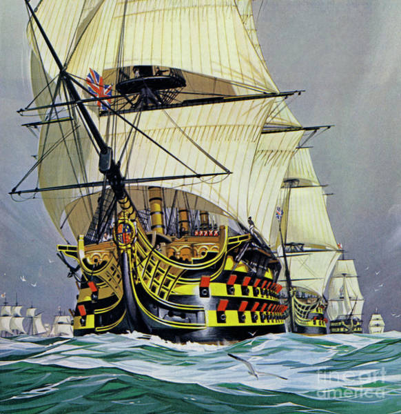 Wall Art - Painting - Hms Victory Before Trafalgar  by Angus McBride
