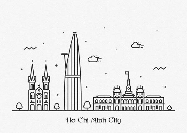 Landmark Center Drawing - Ho Chi Minh City Cityscape Travel Poster by Inspirowl Design