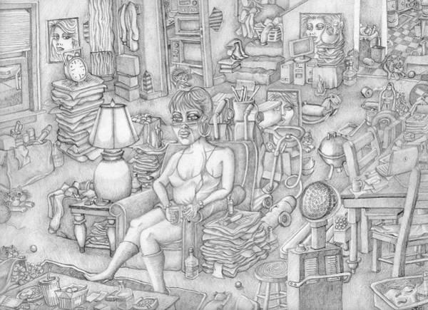Wall Art - Drawing - Hoarder by Todd Hollfelder