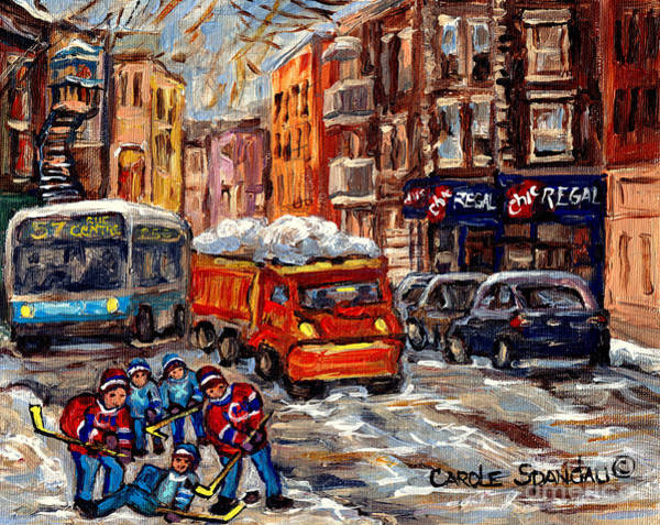 Painting - Hockey Art Streets Of The Pointe Sw Montreal Winter Scene Chic Regal Resto C Spandau Quebec Artist by Carole Spandau