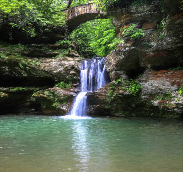 Painting - Hocking Hills State Park Upper Falls by Dan Sproul