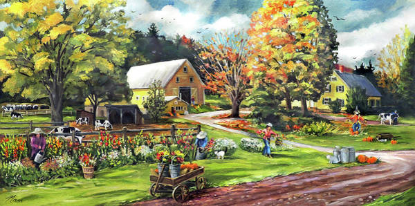 Painting - Hodges Farm In Fairlee Vermont by Nancy Griswold