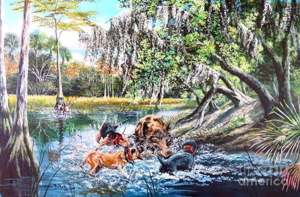 Wall Art - Painting - Hog Hunting Florida- Boar Hogs And Dogs by Daniel Butler