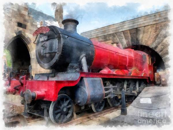 Wall Art - Photograph - Hogwarts Express Harry Potter Train Watercolor by Edward Fielding