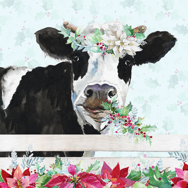 Crazy Painting - Holiday Crazy Cow by Patricia Pinto