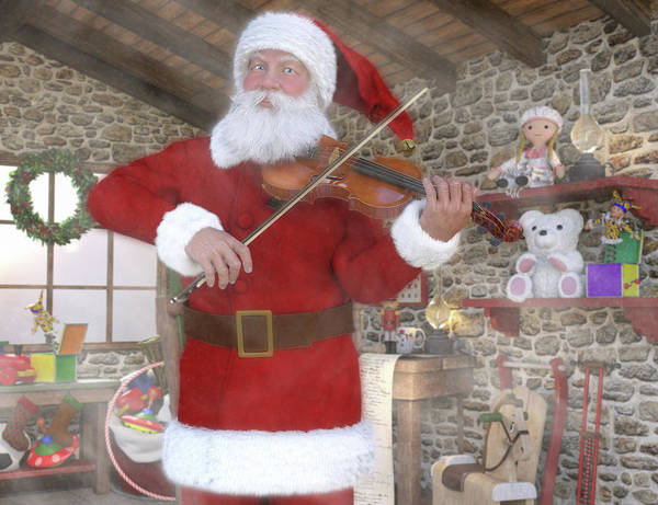 Wall Art - Digital Art - Holiday Santa Playing Violin by Betsy Knapp