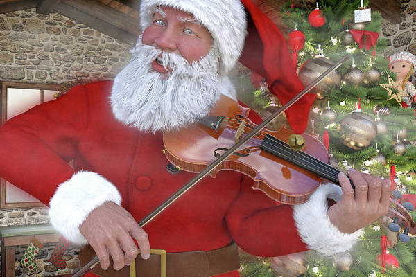 Wall Art - Digital Art - Holiday Santa Playing Violin Custom by Betsy Knapp