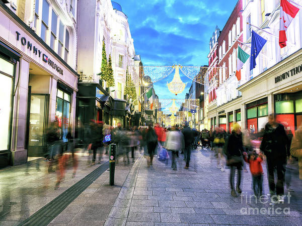 Wall Art - Photograph - Holiday Shopping On Grafton Street At Night by John Rizzuto