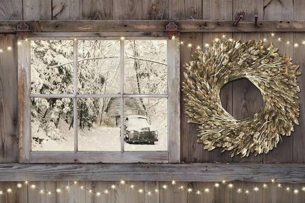 Wall Art - Mixed Media - Holiday Snow Scene by Lori Deiter