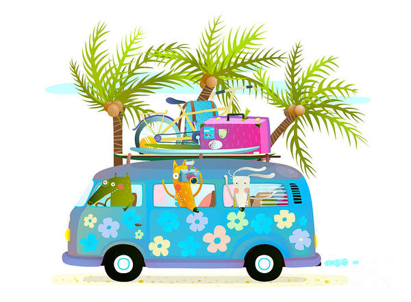 Wall Art - Digital Art - Holiday Summer Bus With Beach Tropical by Popmarleo