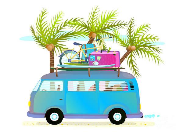 Bus Wall Art - Digital Art - Holiday Summer Trip Bus For Beach by Popmarleo