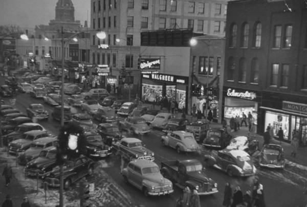 Parking Photograph - Holiday Traffic Jamming Parking Space In by Alfred Eisenstaedt