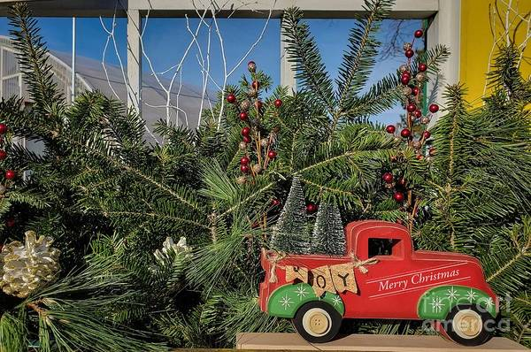Photograph - Holiday Truck Window Display  by Mary Capriole