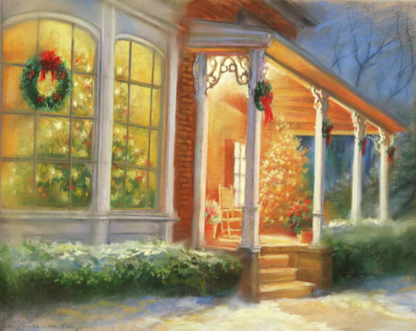 Rocking Chairs Painting - Holiday Welcome by Laurie Snow Hein