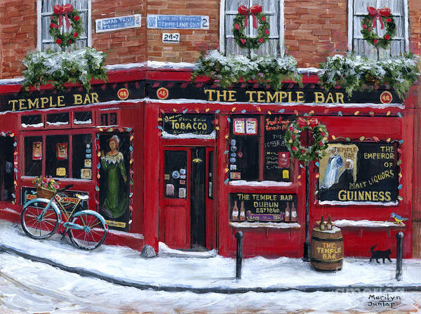 Tavern Painting - Holidays At The Temple Bar by Marilyn Dunlap
