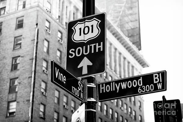 Hollywood And Vine Street Sign Art Print