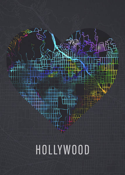Wall Art - Mixed Media - Hollywood California City Heart Street Map Love Dark Mode by Design Turnpike