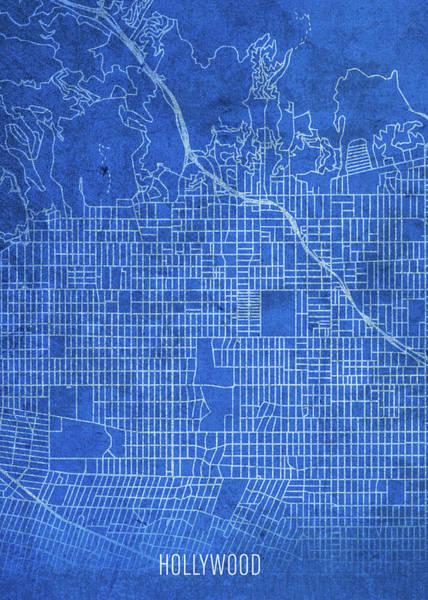 Wall Art - Mixed Media - Hollywood California City Street Map Blueprints by Design Turnpike