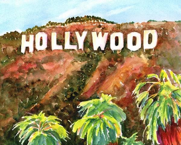 Painting - Hollywood Sign California Usa by Carlin Blahnik CarlinArtWatercolor