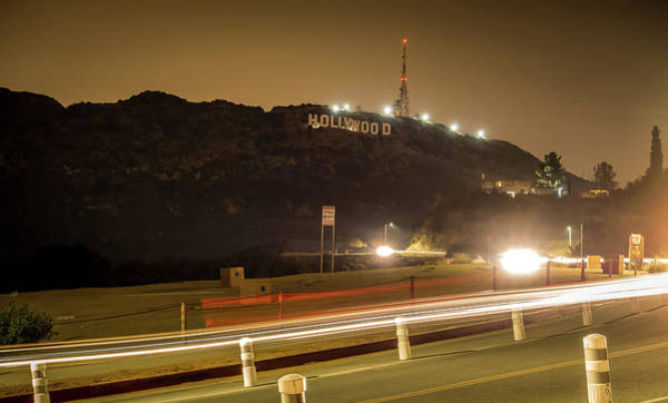 Photograph - Hollywood Sign Illuminated At Night by Alex Grichenko