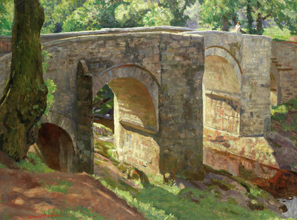 Wall Art - Painting - Holne Bridge On The River Dart by Ernest Procter