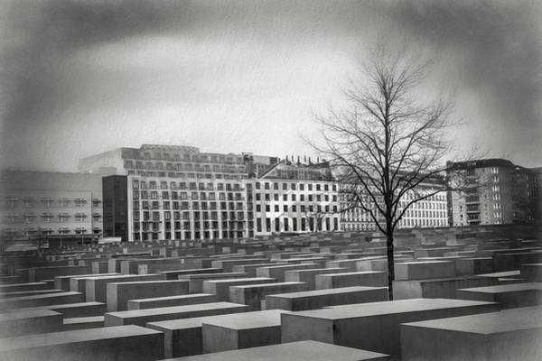 Holocaust Photograph - Holocaust Memorial Berlin Germany Black And White by Carol Japp