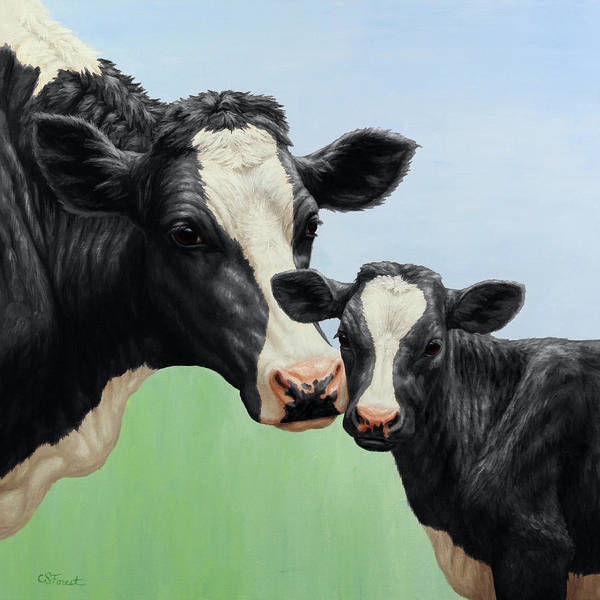 Calf Painting - Holstein Cow And Calf by Crista Forest