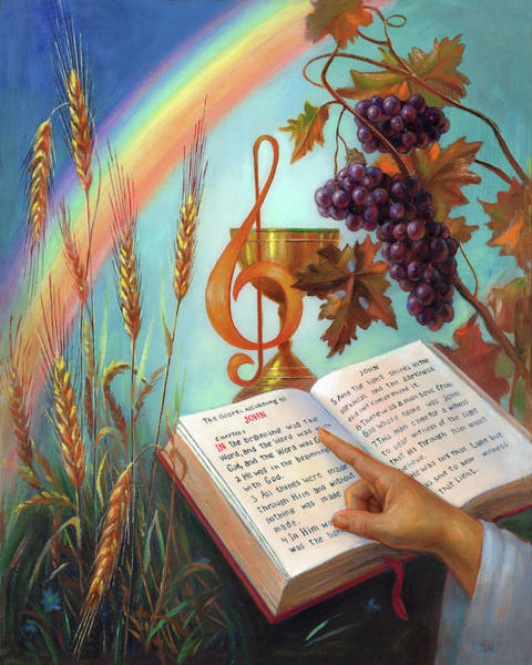 Bread And Wine Painting - Holy Bible - The Gospel According To John by Svitozar Nenyuk