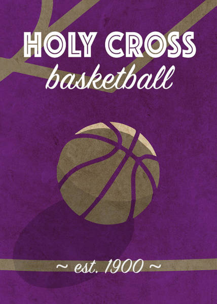 Wall Art - Mixed Media - Holy Cross University Retro College Basketball Team Poster by Design Turnpike