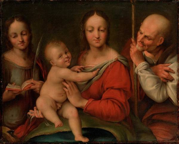 Cesare Painting - Holy Family With St. Catherine Detail by Cesare da Sesto