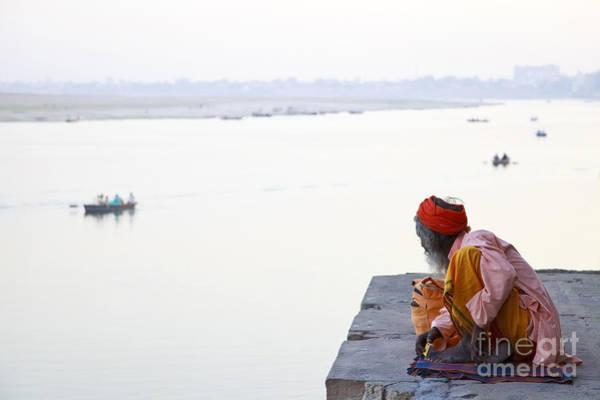 Wall Art - Photograph - Holy Indian Sadhu At The Ghats In by Dirk Ott