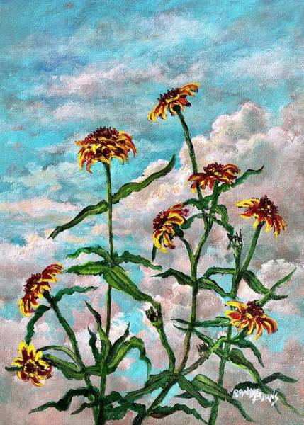 Wall Art - Painting - Homage To Zinnias Of Old Mexico by Randy Burns