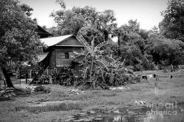 Wall Art - Photograph - Home Back Roads Cambodia Bw by Chuck Kuhn
