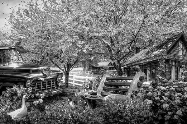 Rusty Truck Digital Art - Home Is Where The Heart Is In Black And White by Debra and Dave Vanderlaan