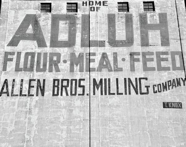 Photograph - Home Of Adluh Flour Meal Feed Mill Black And White by Lisa Wooten