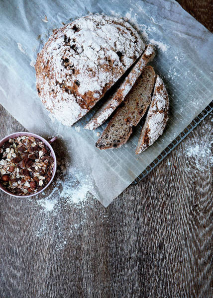 Vertical Line Photograph - Homemade Bread With Muesli by Line Klein