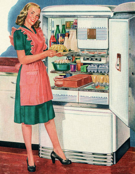 Apron Digital Art - Homemaker With New Fridge by Graphicaartis