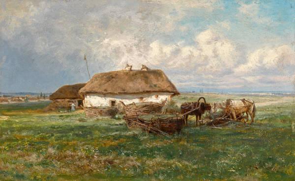 Painting - Homestead With Horses by Iosif Evstafievich Krachkovsky